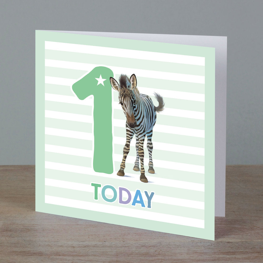 Square birthday card with zebra in front of '1 today' pale green colour