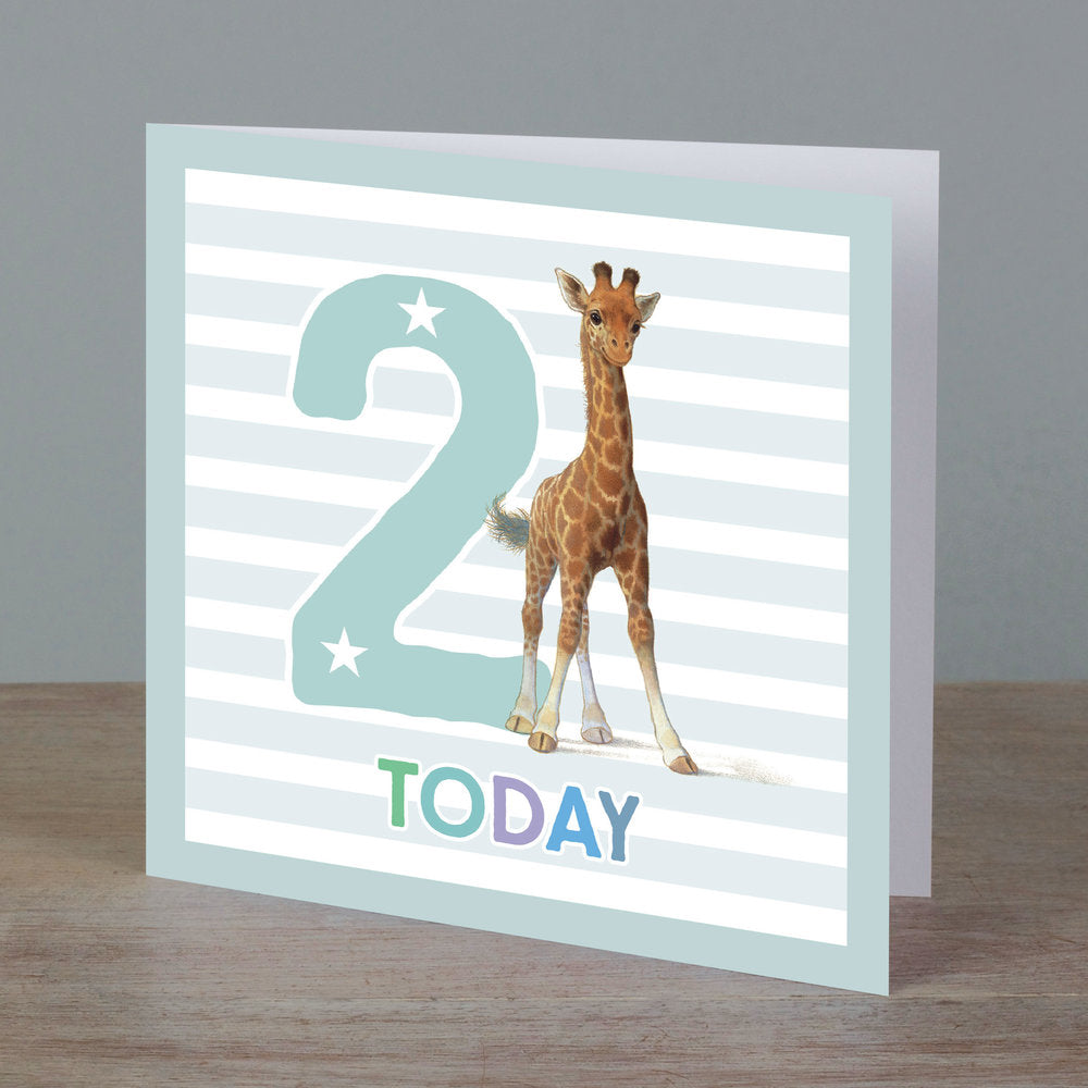 Square birthday card with giraffe in front of '2 today' pale blue colour