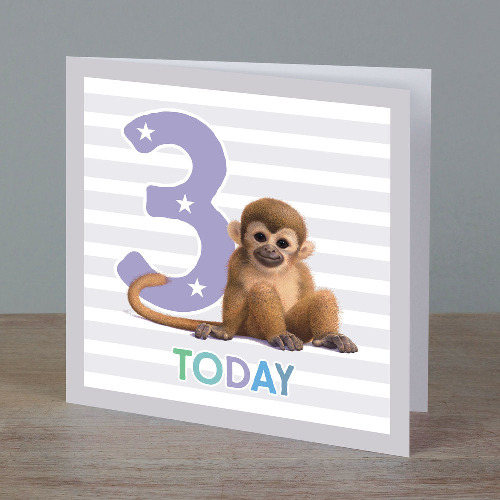 Square birthday card with baby monkey in front of '3 today' pale purple colour