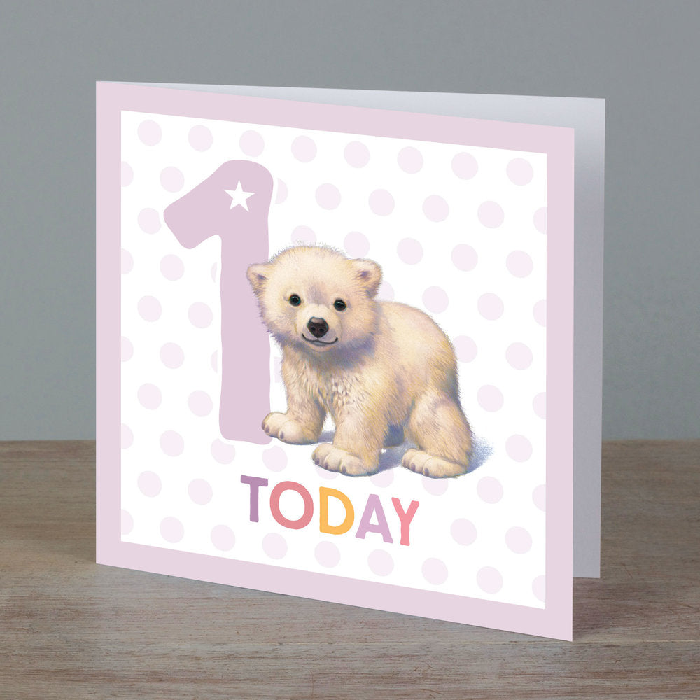 Square birthday card with polar bear in front of '1 today' pale lilac colour