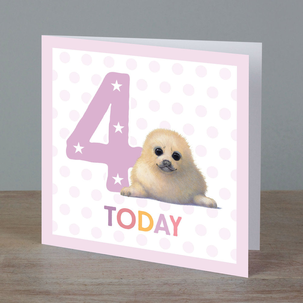 Square birthday card with baby seal in front of '4 today' pale pink colour