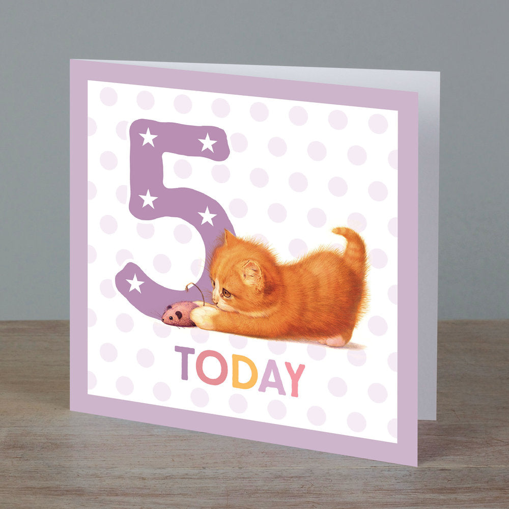 Square birthday card with baby kitten in front of '5 today' pale purple colour