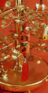 Embroidered Fragrant Lucky Cat Charm