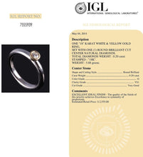 Load image into Gallery viewer, Round Diamond Ring G VS1 0.20 Carat 18K Solid White Gold IGL Certified