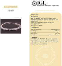 Load image into Gallery viewer, 10.08 carat Diamonds Tennis Bracelet D VVS1 Collection 18K Solid Gold Certified
