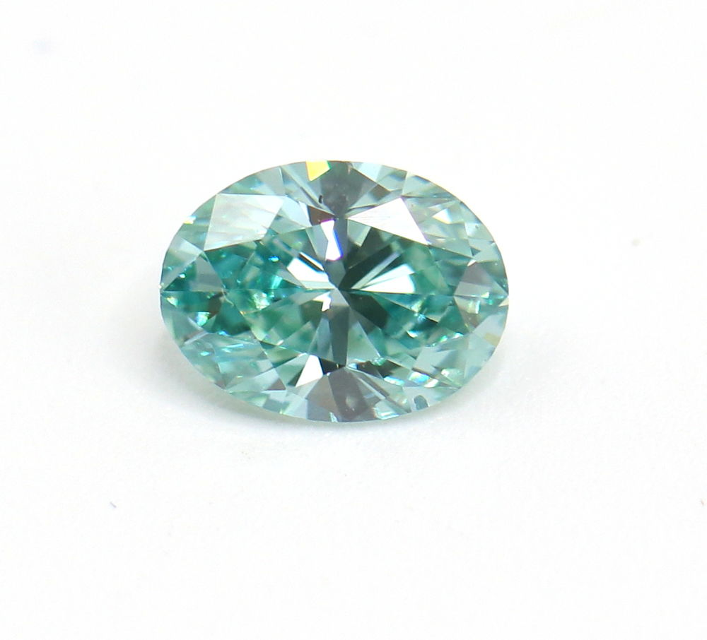 1.27 CT Loose Natural Diamond Fancy Vivid Blue Green VS1 Oval Brilliant IGI Certified