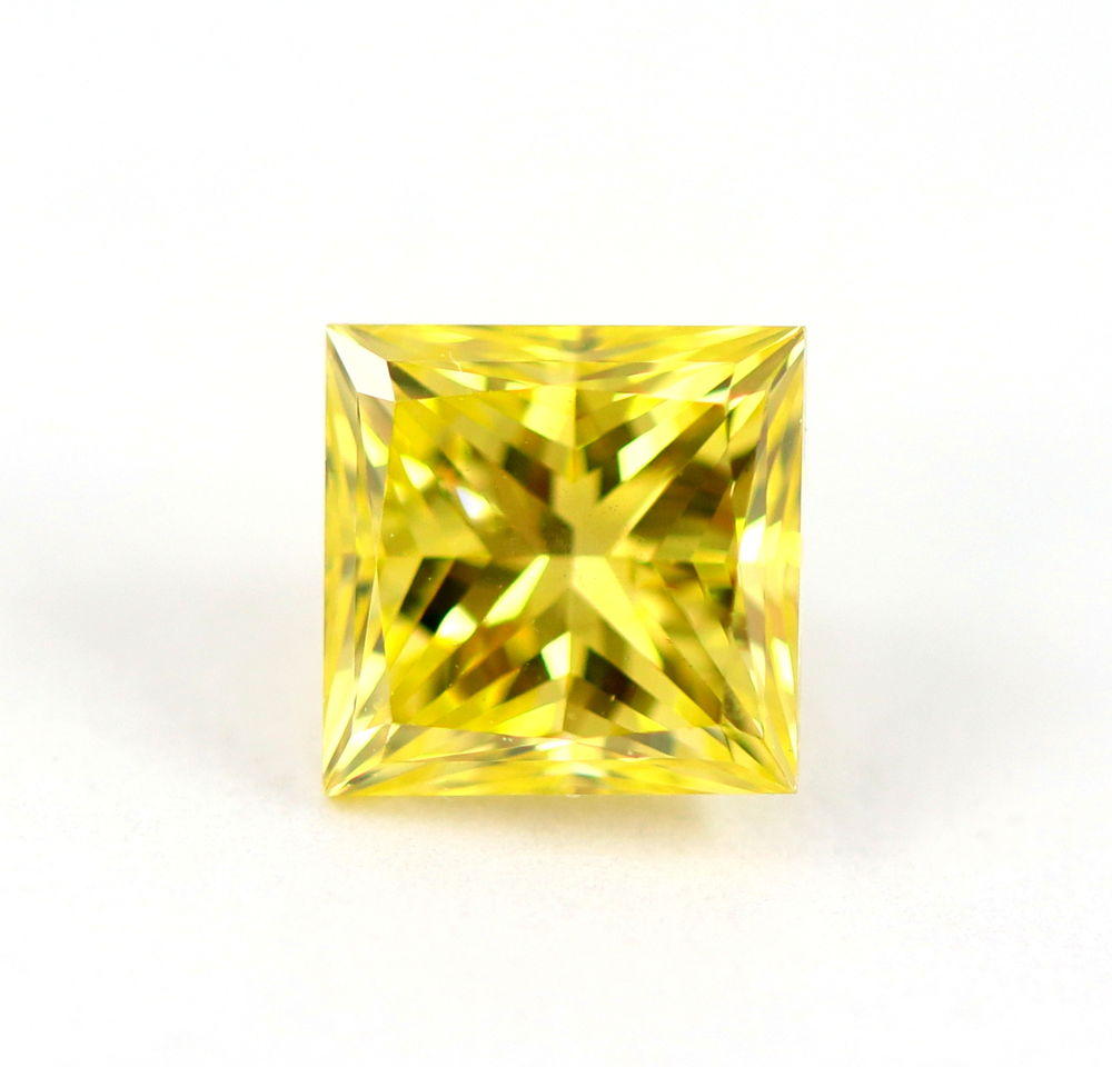 1.01 CT Loose Natural Diamond Fancy vivid Yellow Princess Cut Certified