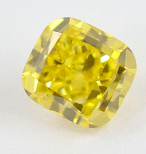 Load image into Gallery viewer, 1.02 CT Loose Natural Diamond Fancy vivid Yellow VVS2 Cushion Cut Certified