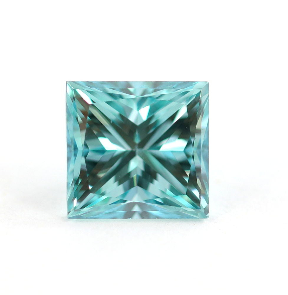 1.08 CT Loose Natural Diamond Fancy vivid Blue VVS2 Princess Cut Certified Rectangular