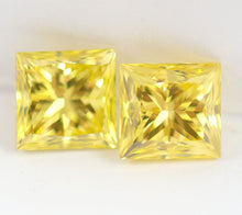 Load image into Gallery viewer, Fancy vivid Yellow Loose Diamond Pair 2.03 CT VVS2 Princess Cut Certified