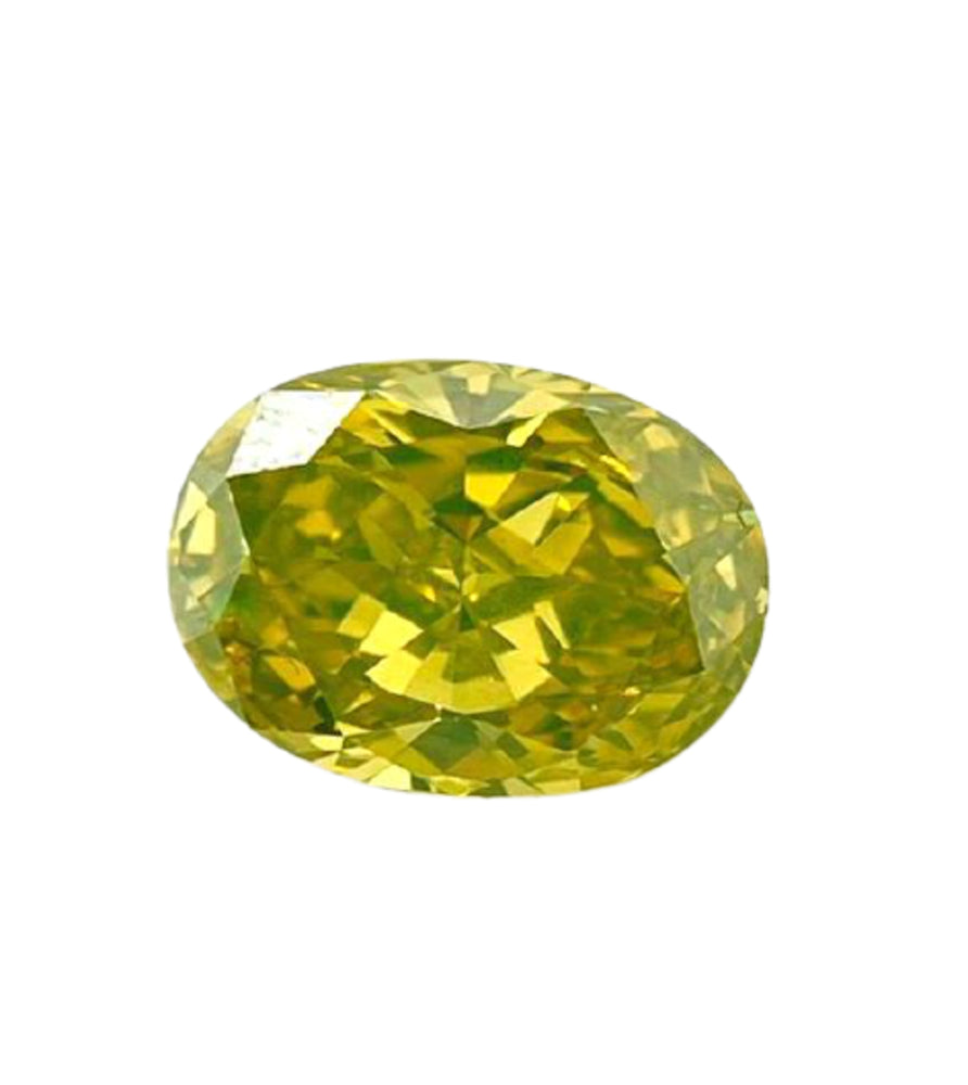 2.05 CT Loose Natural Diamond Fancy Vivid Yellow Green VVS2 Oval Cut GIA Certified