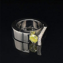 Load image into Gallery viewer, Diamond Ring One of A kind 0.95 carat Fancy Intense Green Yellow 18k White Gold Top Design