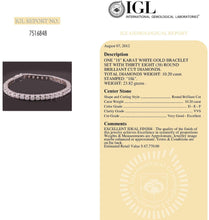 Load image into Gallery viewer, Diamonds Tennis Bracelet 10.20 carat D VVS1 Solid 18K Gold Certified 67700$ app