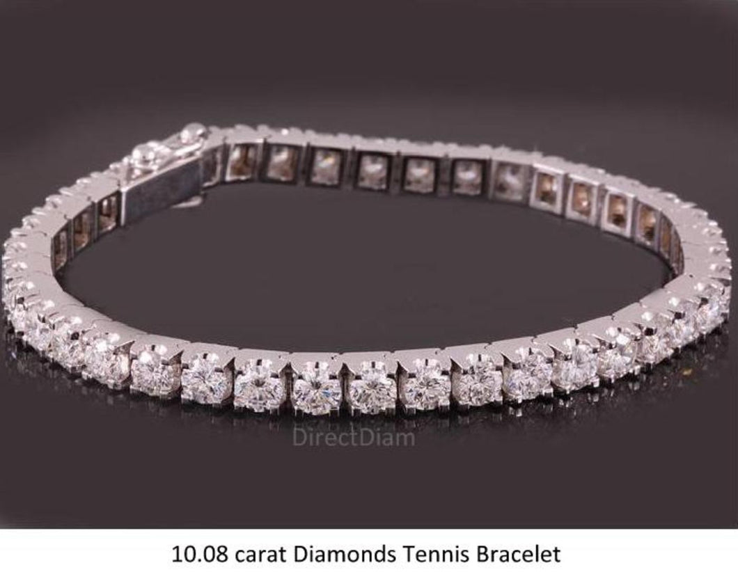 10.08 carat Diamonds Tennis Bracelet D VVS1 Collection 18K Solid Gold Certified