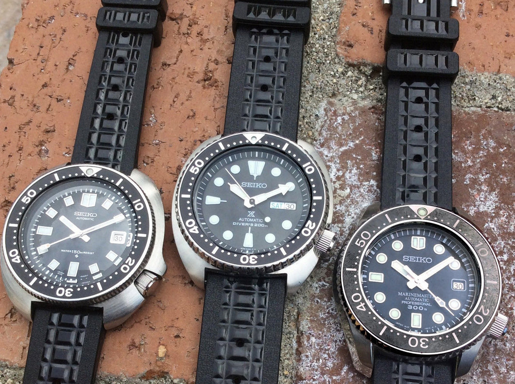 Rubber Chocolate Bar Strap for all Seiko Divers (19/20/22mm)