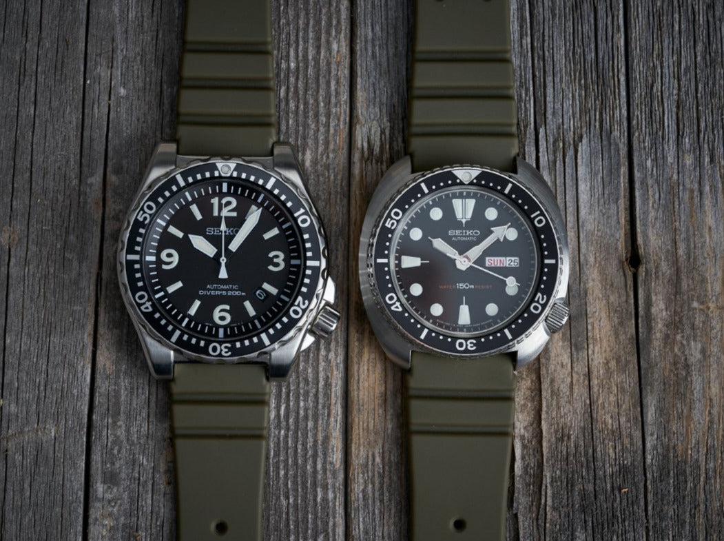 The Classic GL831 Rubber Strap in OD Green (19/20/22mm)