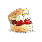 A scone filled with jam and clotted cream