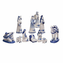 Load image into Gallery viewer, Blue and White Nativity Scene