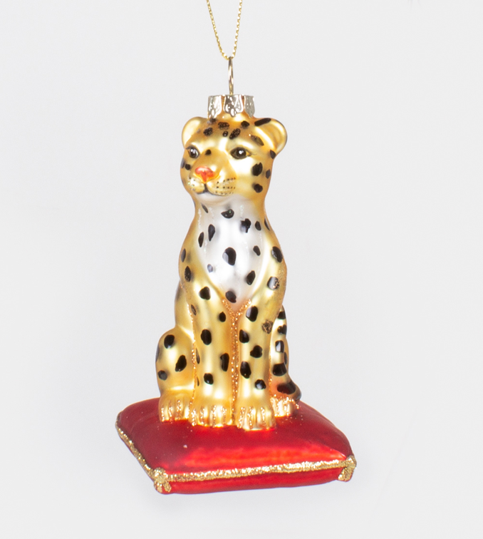Sitting Leopard Ornament