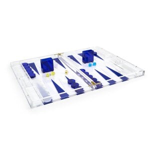 Lucite Backgammon Set, Blue
