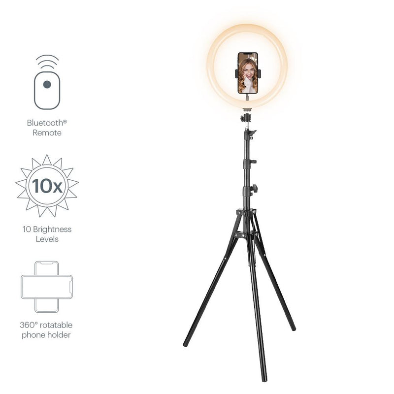 "Cygnett V-PRO 12"" Travel Ring Light with Tripod, Travel Pouch and Bluetooth Remote"