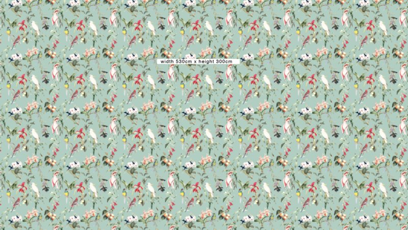 Wallpaper - BIRDS OF PARADISE - sea mint