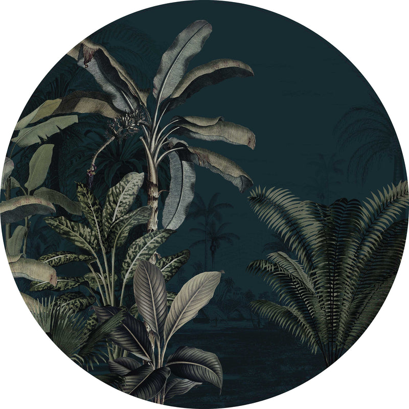 Ronde wandsticker - Dreamy Jungle Dark
