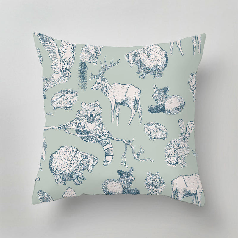 Indoor Pillow - FOREST FRIENDS - mint/soft teal