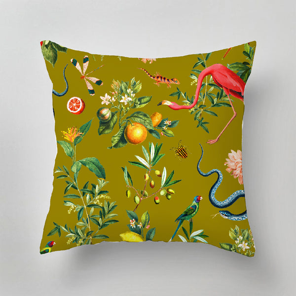 Indoor Pillow - GARDEN OF EDEN - olive gold