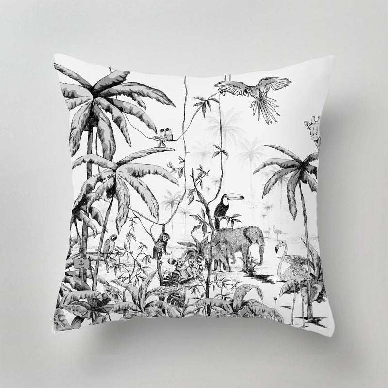 Outdoor Pillow - JUNGLE - black/white
