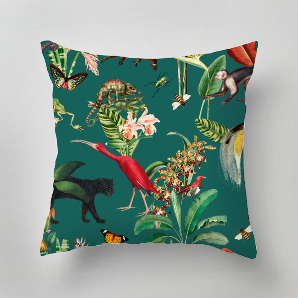 Indoor Pillow - KINGDOM ANIMALIA dark teal