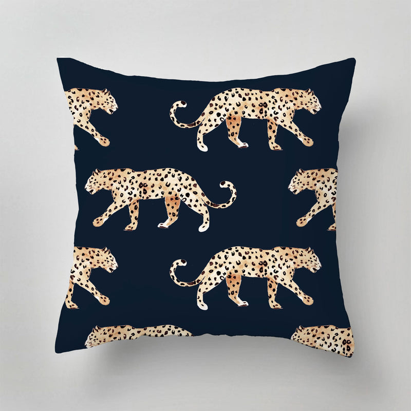 Pillow - LEOPARD navy blue