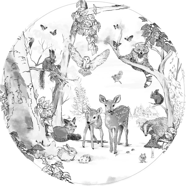 Round wall sticker - Magical Forest black/white