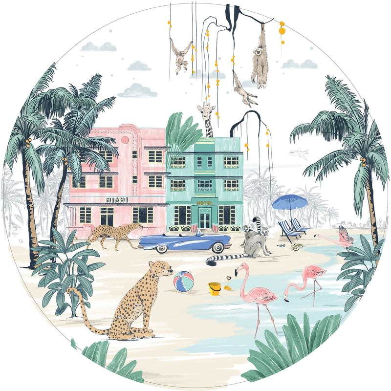 Round wall sticker - Miami Beach