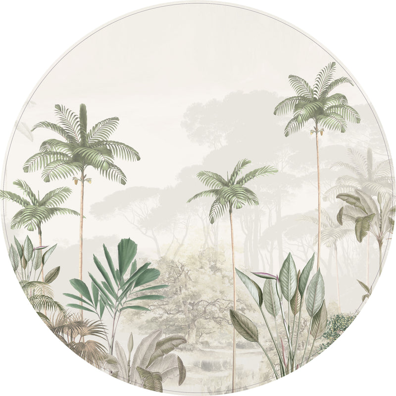 Round wall sticker - Tropical Wilderness - beige/green