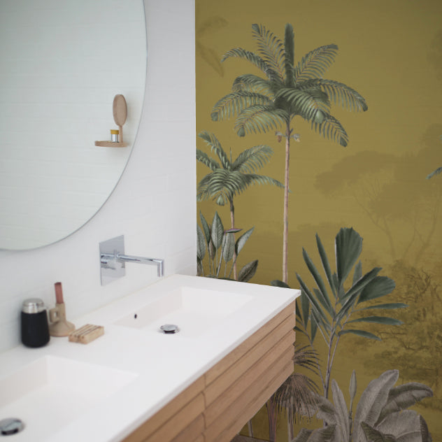 Jungle Wallpaper - Full wall sized image - TROPICAL WILDERNESS ochre