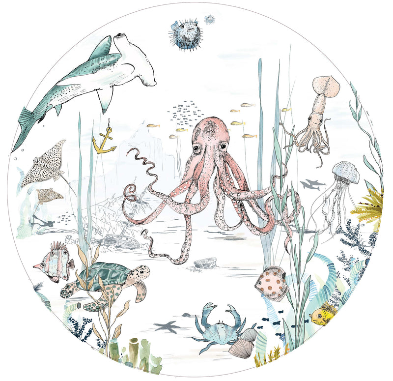 Round wall sticker - Underwater Wonders