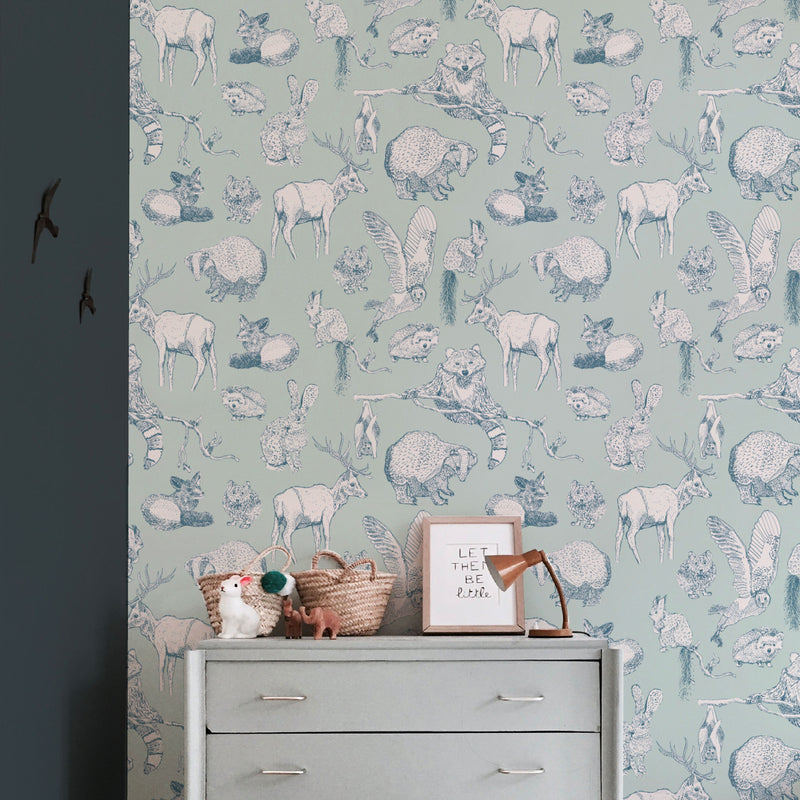 Animal Wallpaper - FOREST FRIENDS - mint/soft teal