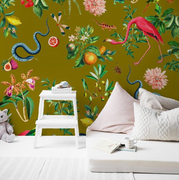 Wallpaper - GARDEN OF EDEN olive gold