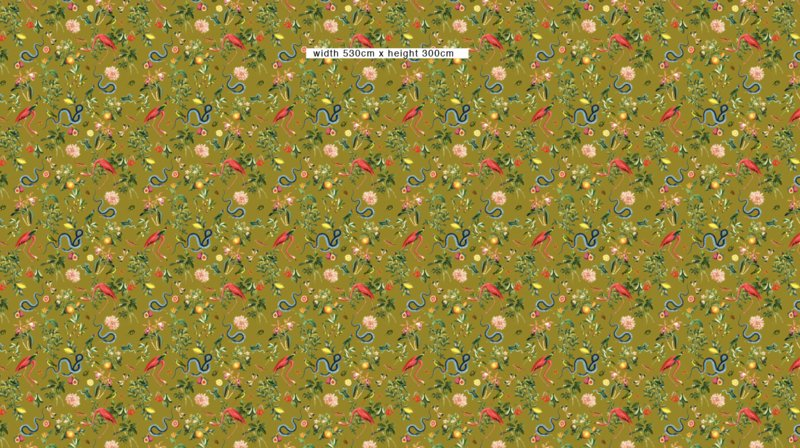 Wallpaper - GARDEN OF EDEN - olive gold