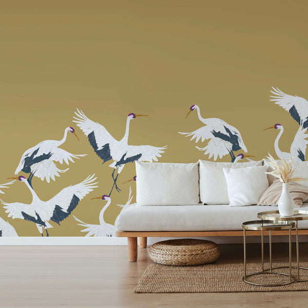 Bird Wallpaper - Full wall sized image - STORK gold