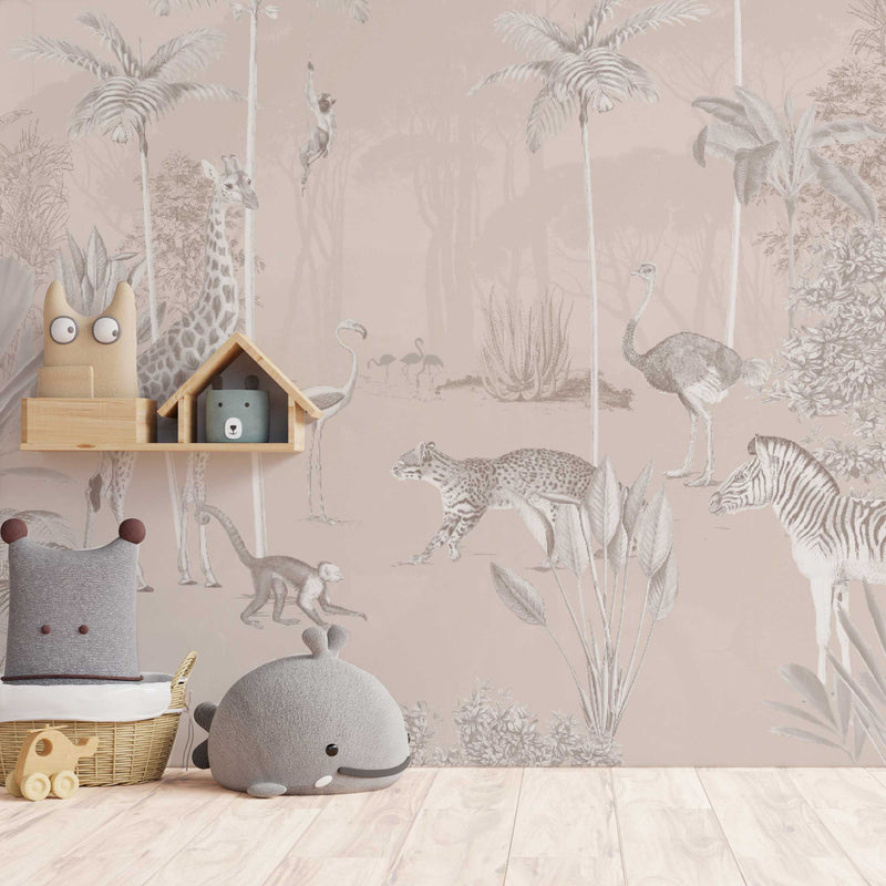 Jungle Behang - Wandgrote afbeelding - WILDLIFE'S PLAYGROUND soft