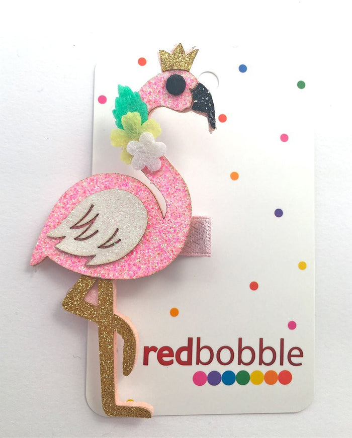 Red Bobble Flamingo Hair Clip