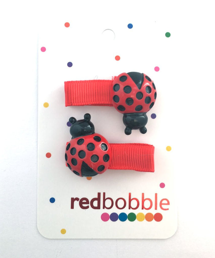 Red Bobble Lady Bug Hair Clips