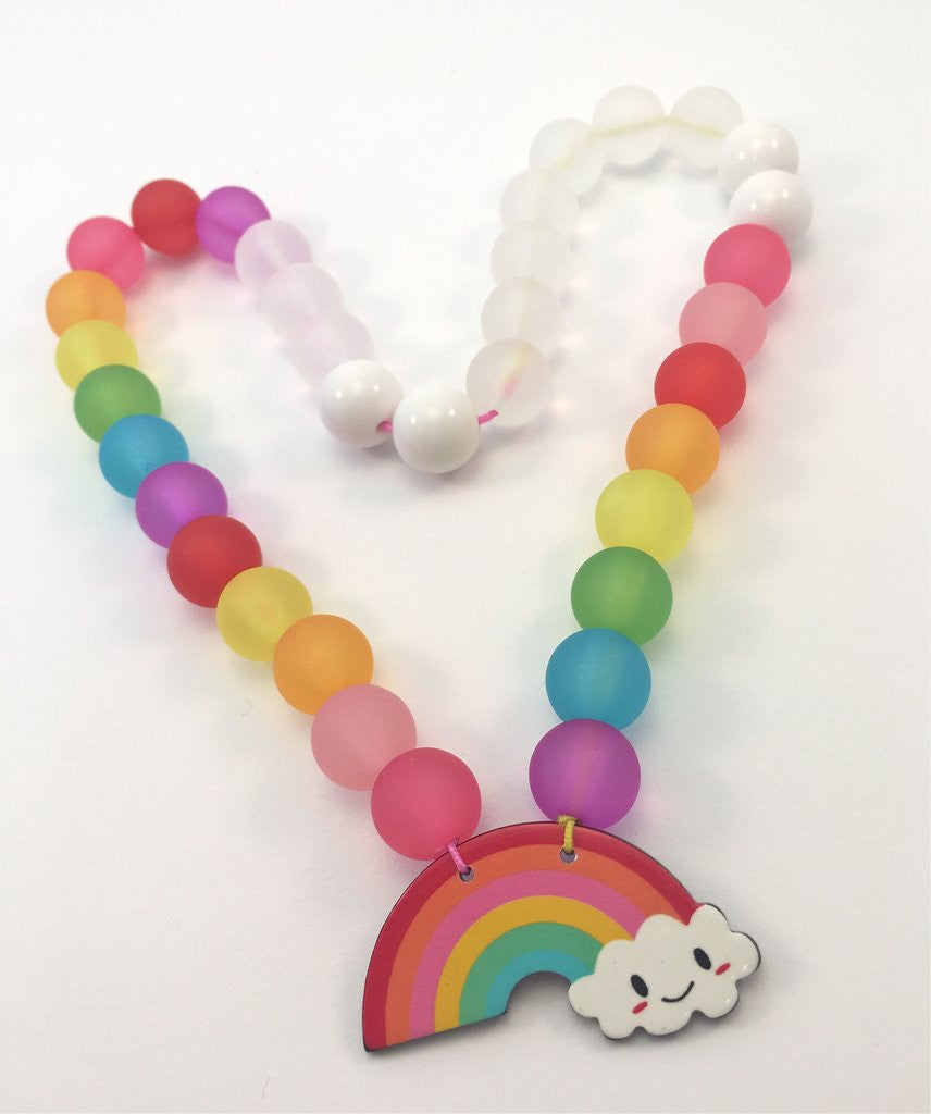 Red Bobble Cloudy Rainbow Necklace