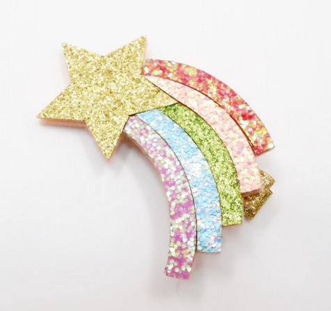 Red Bobble Giant Rainbow Glitter Hair Clip