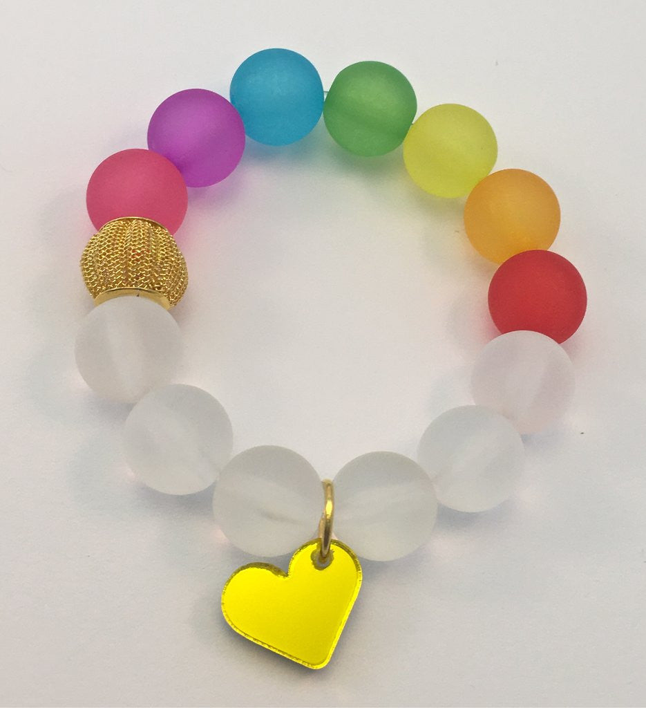 Red Bobble Gold Mirror Heart Bracelet