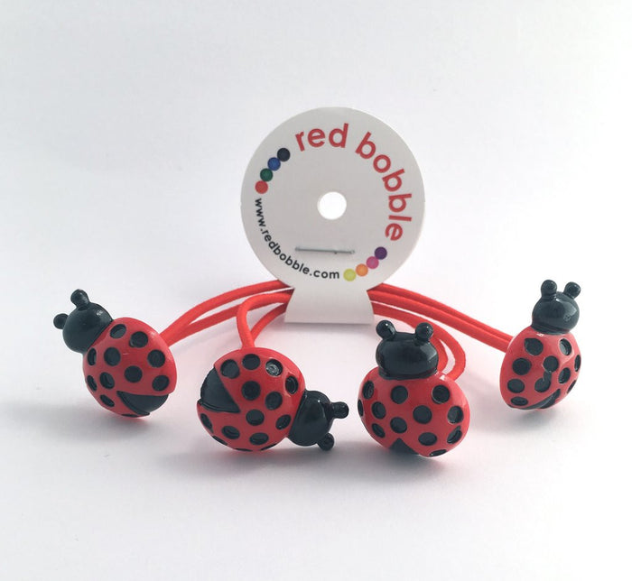 Red Bobble Mini Lady Bug Hair Ties