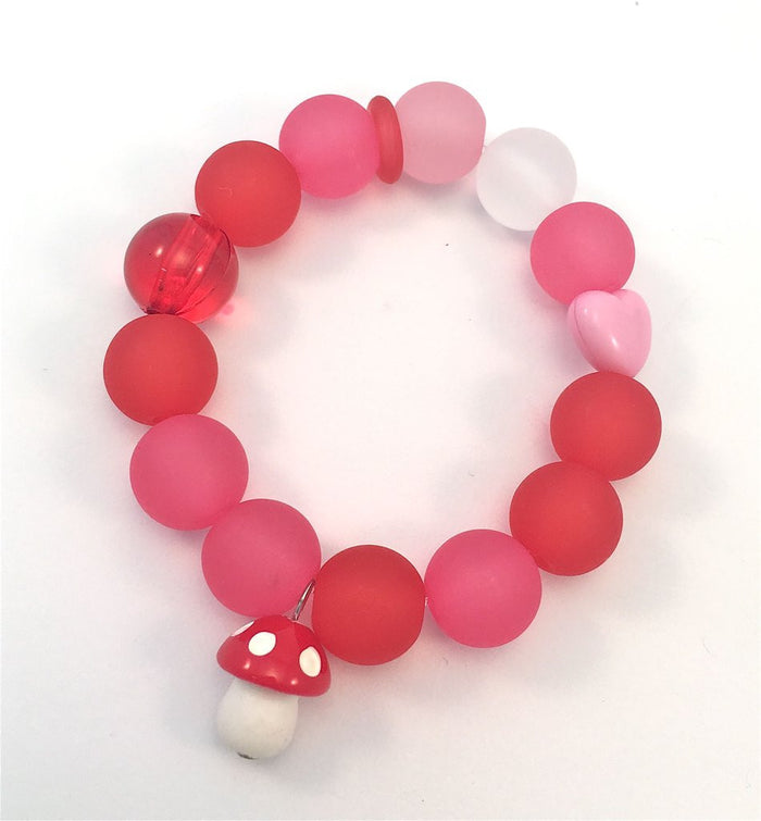 Red Bobble Red Toadstool Bracelet