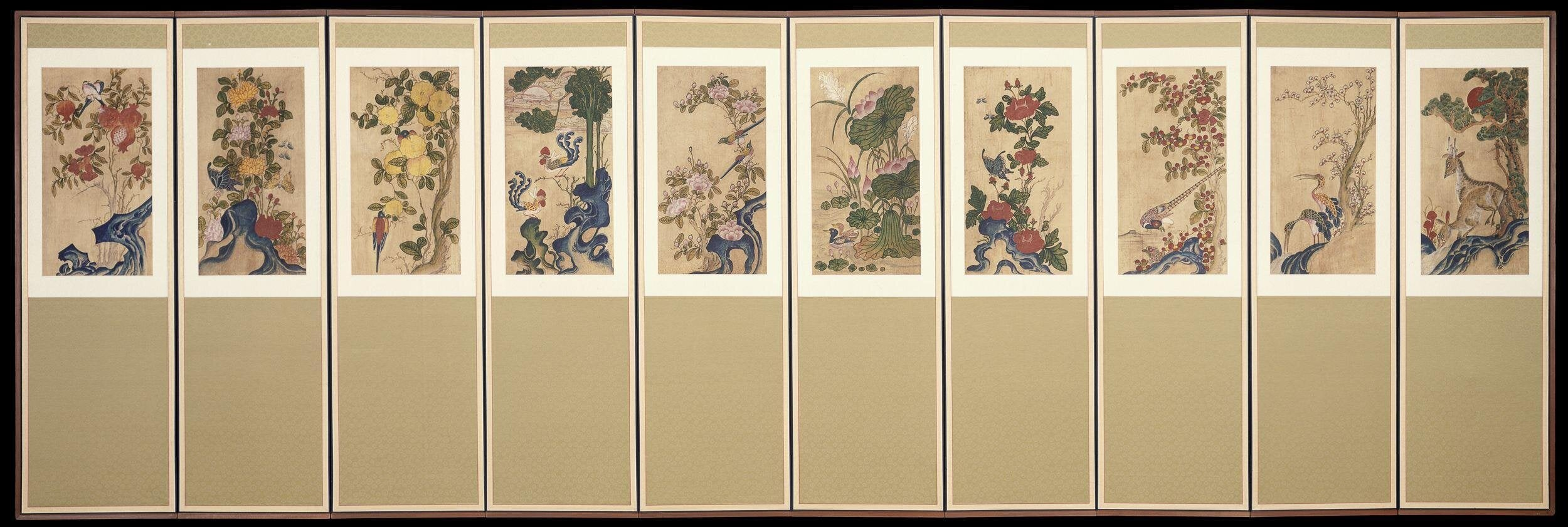 Flower and Bird Screen (Hwajodo Byeongpung), 화조도 병풍